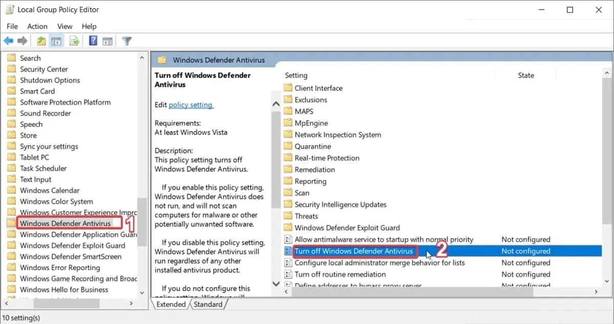 windows 10 enable windows defender