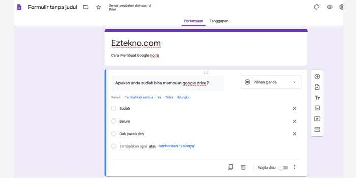 google forms test