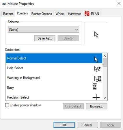 how to change mouse cursor