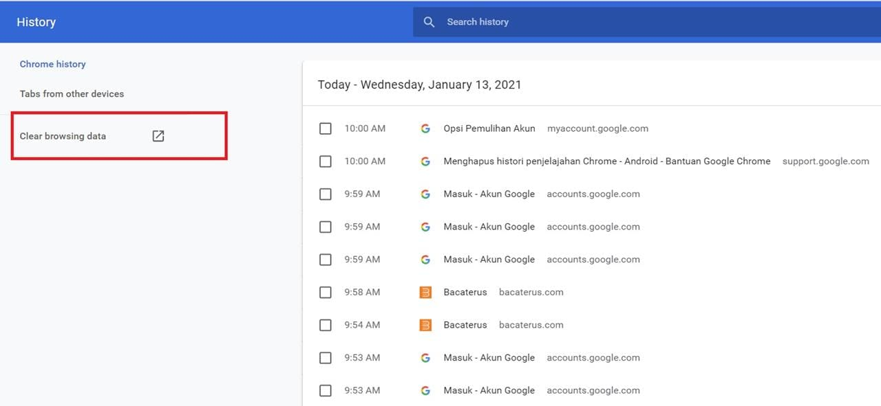 clear history chrome android