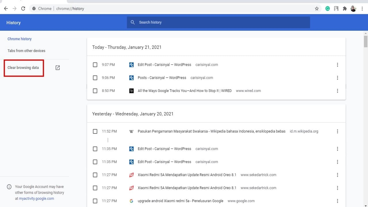 how to clear google search history on computer