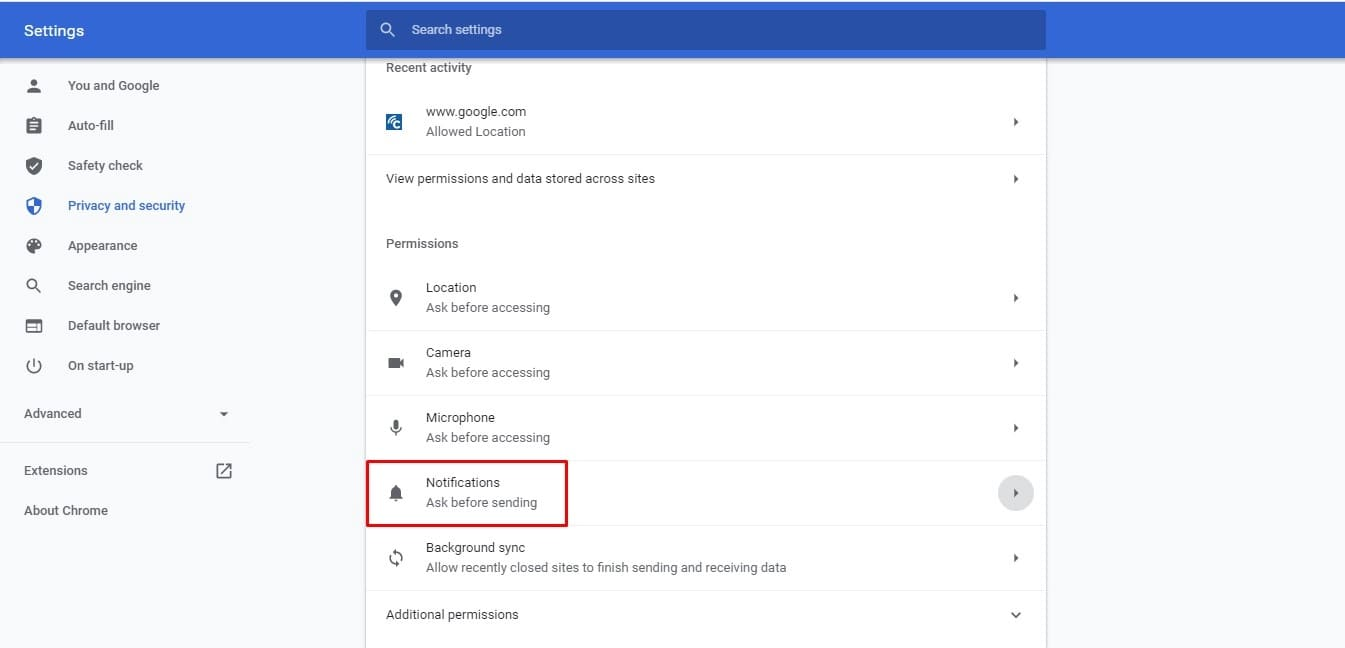 turn off website notifications windows 10 chrome