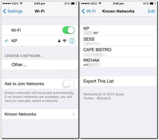 how to view wifi password on iPhone