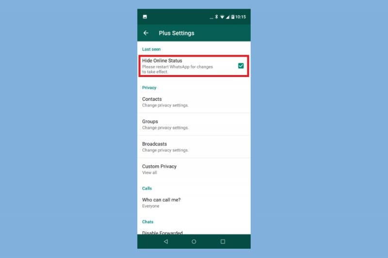 how to hide whatsapp online status while chatting