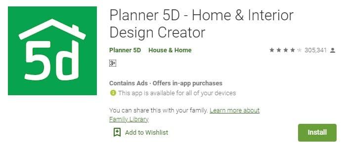 Planner 5D room design app free