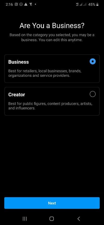 instagram business account vs personal