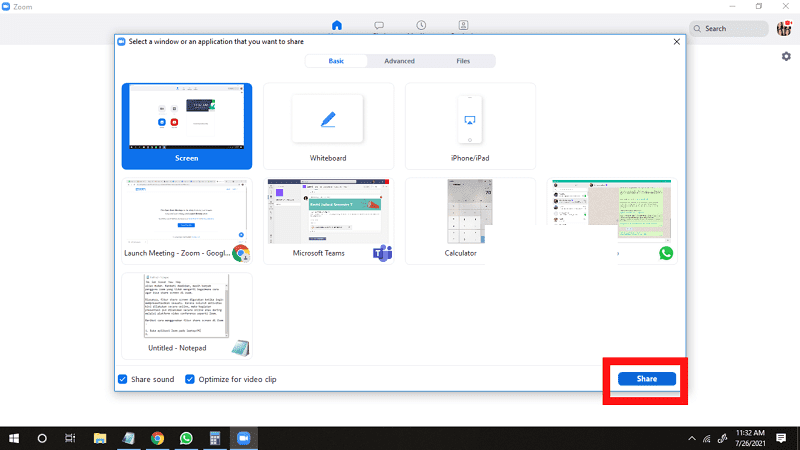 how do i share screen and see participants in zoom