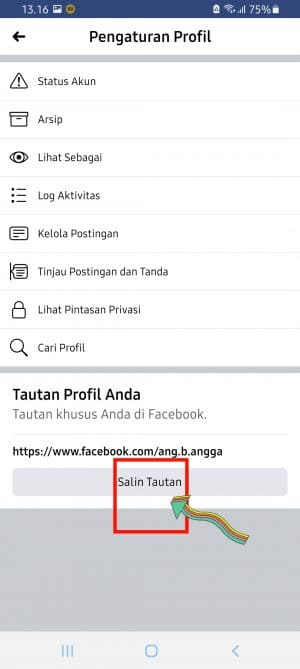 how to find my facebook username on mobile